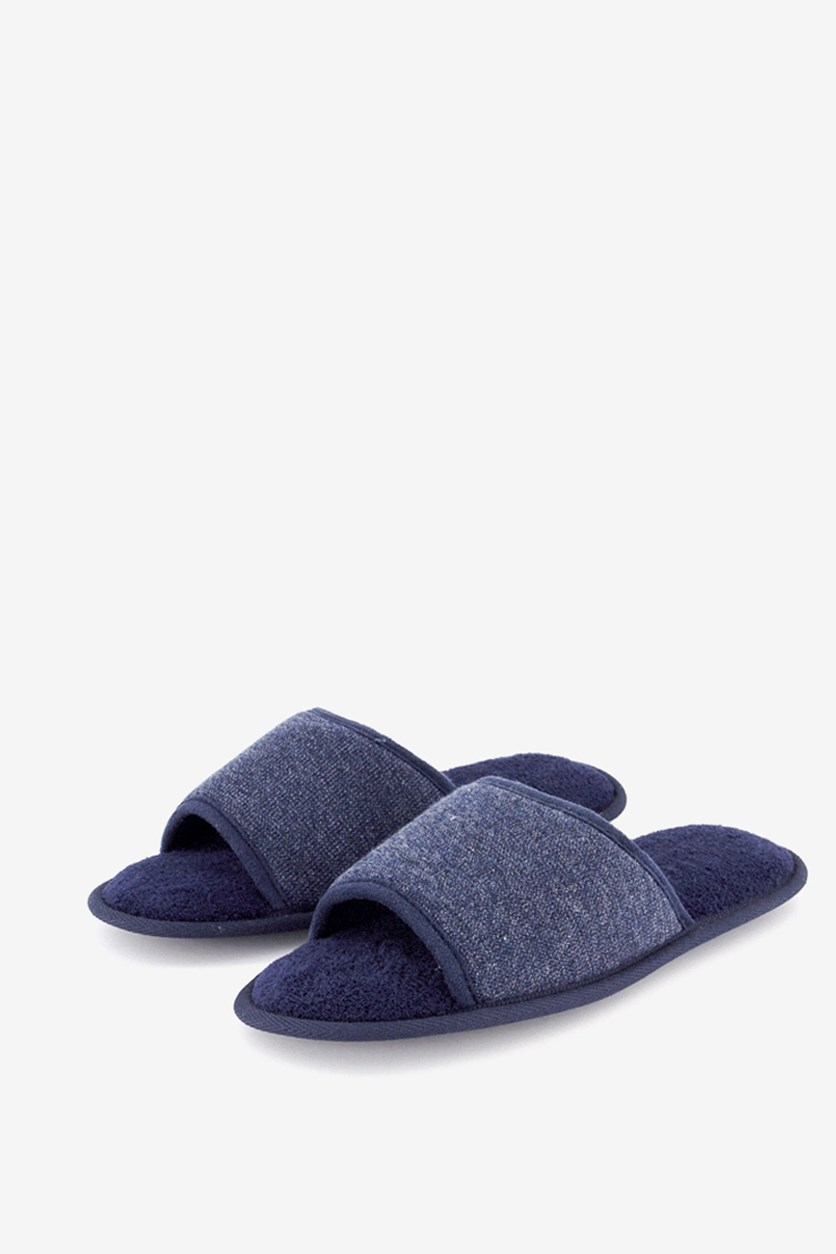 Mens' Open Toe Memory Foam Slide Slippers, Navy Blue