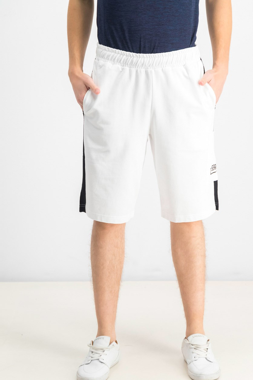 Men's Contrast Piecing With Pocket Short, Bright White Combo