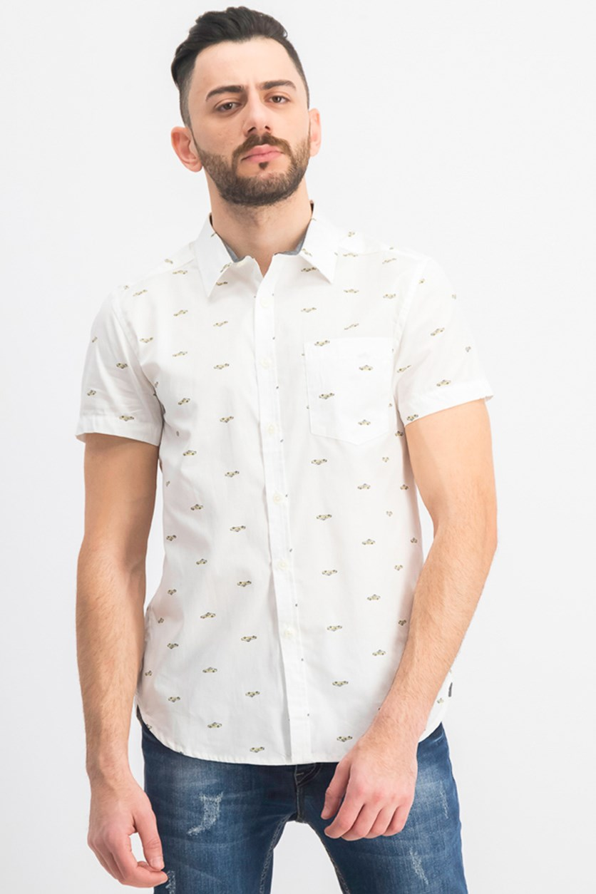 Men's Allover Taxi Print Casual Shirt, White