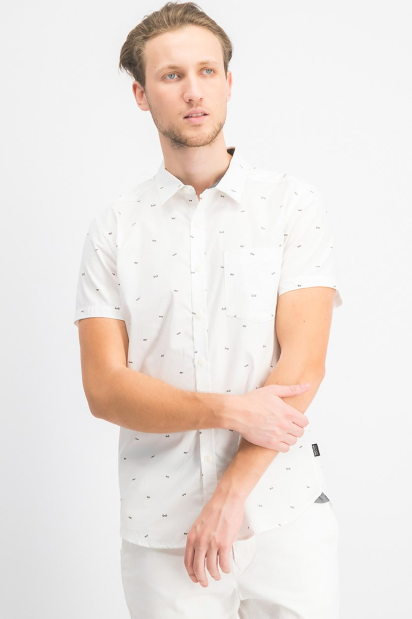Men's Sunglasses Print Woven Shirt, White