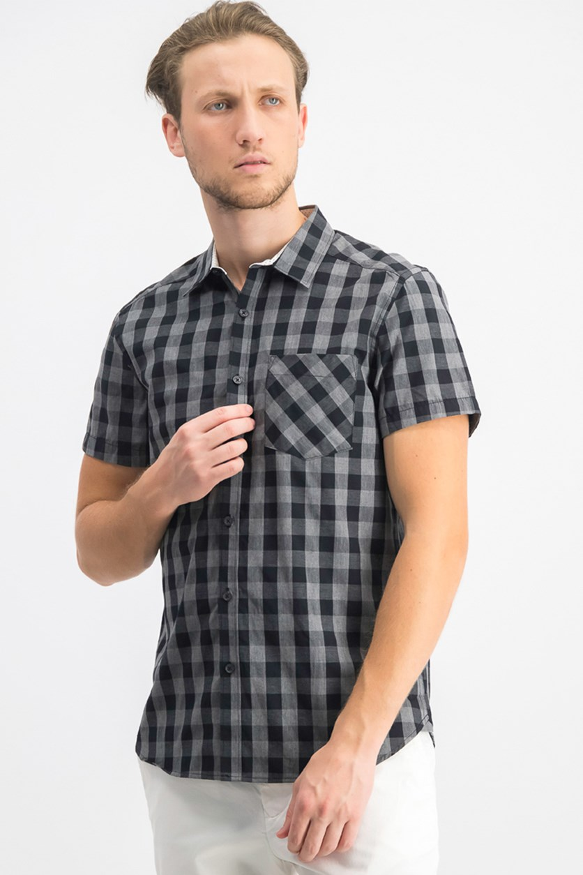 Men's Checked Woven Shirt, Black