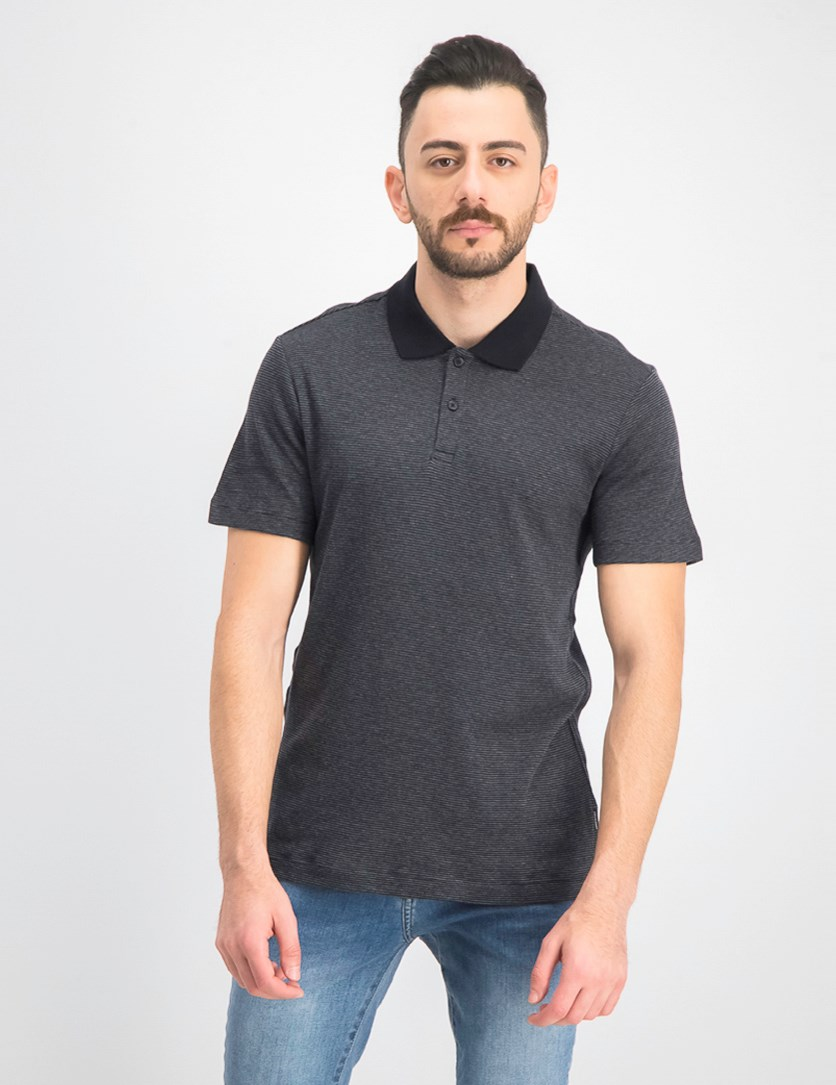 Men's Stripe Polo Shirt, Charcoal