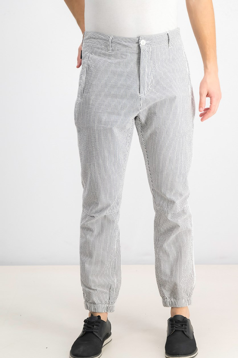 Men's Seersucker Jogger Pants, Night Sky
