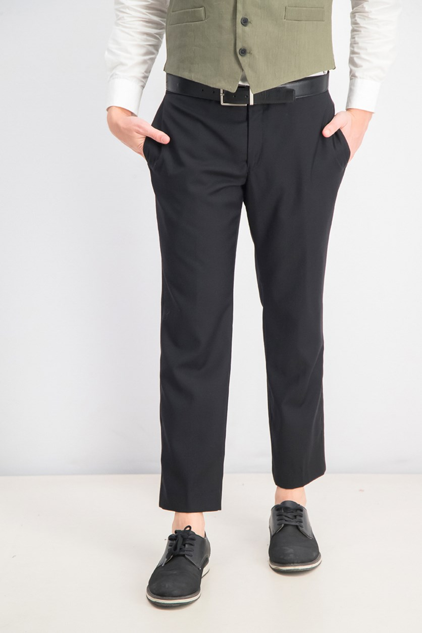 Men Flat-Front Black Tuxedo Pants, Black