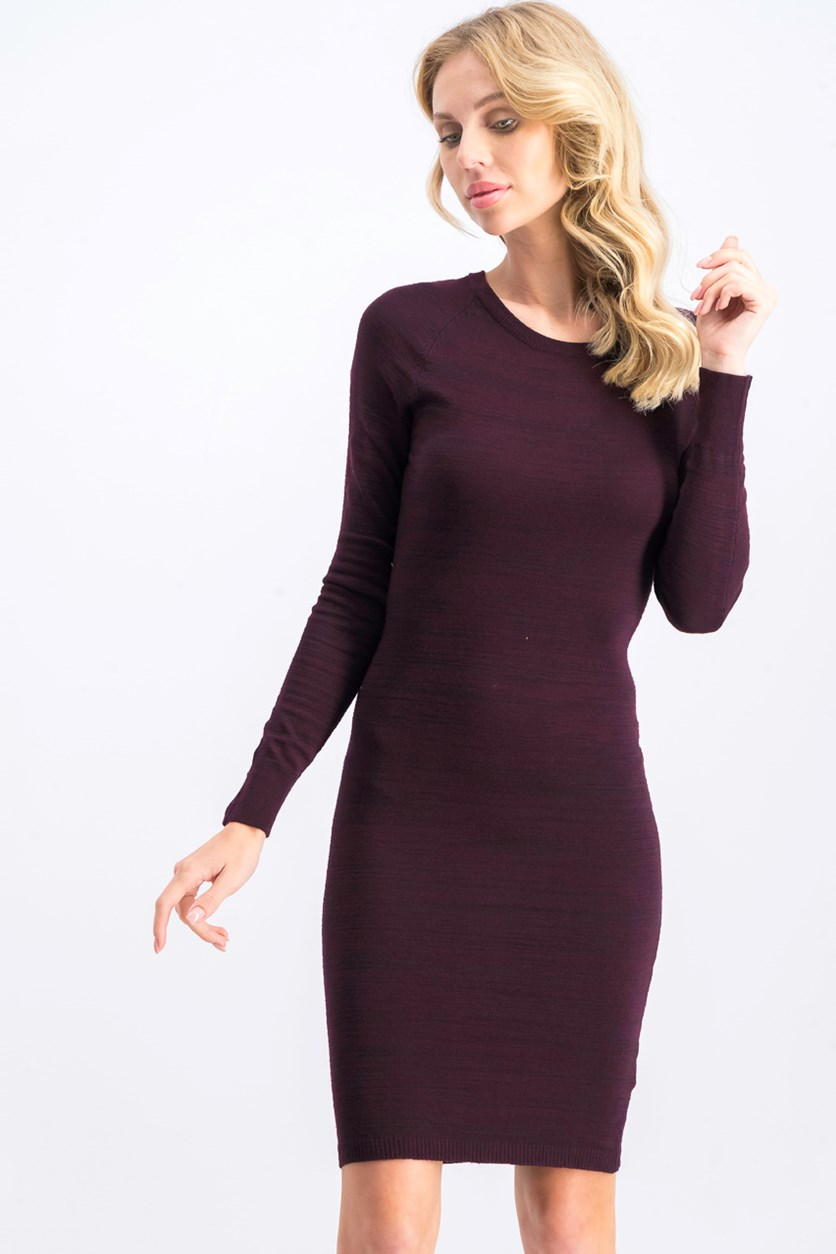 Women's Knitted Sweater Dress, Burgundy Heather