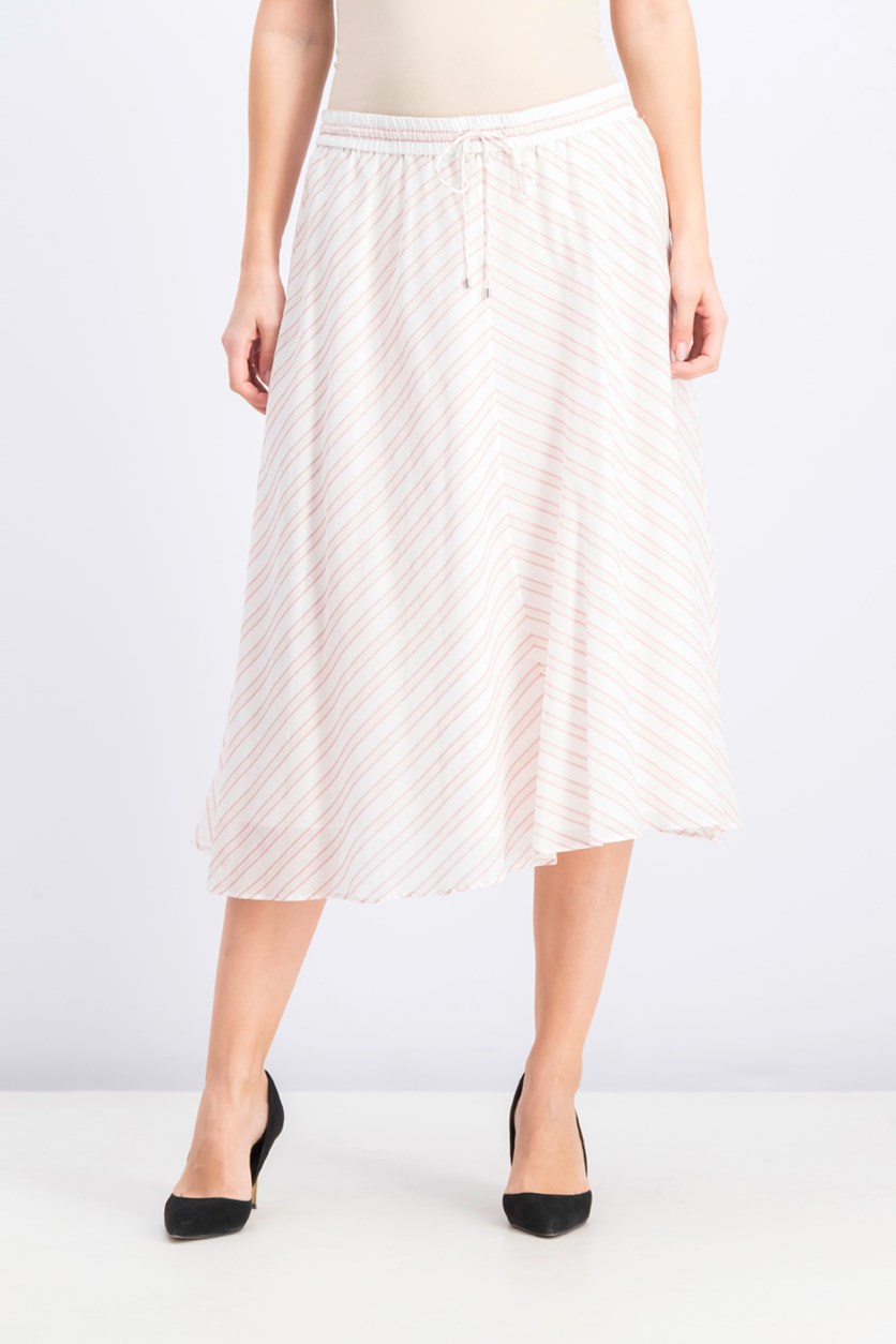 Striped A-Line Midi Skirt, Berry