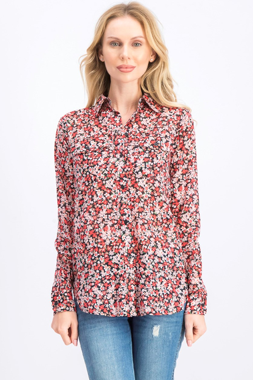 Women's Floral Tops, Red Combo