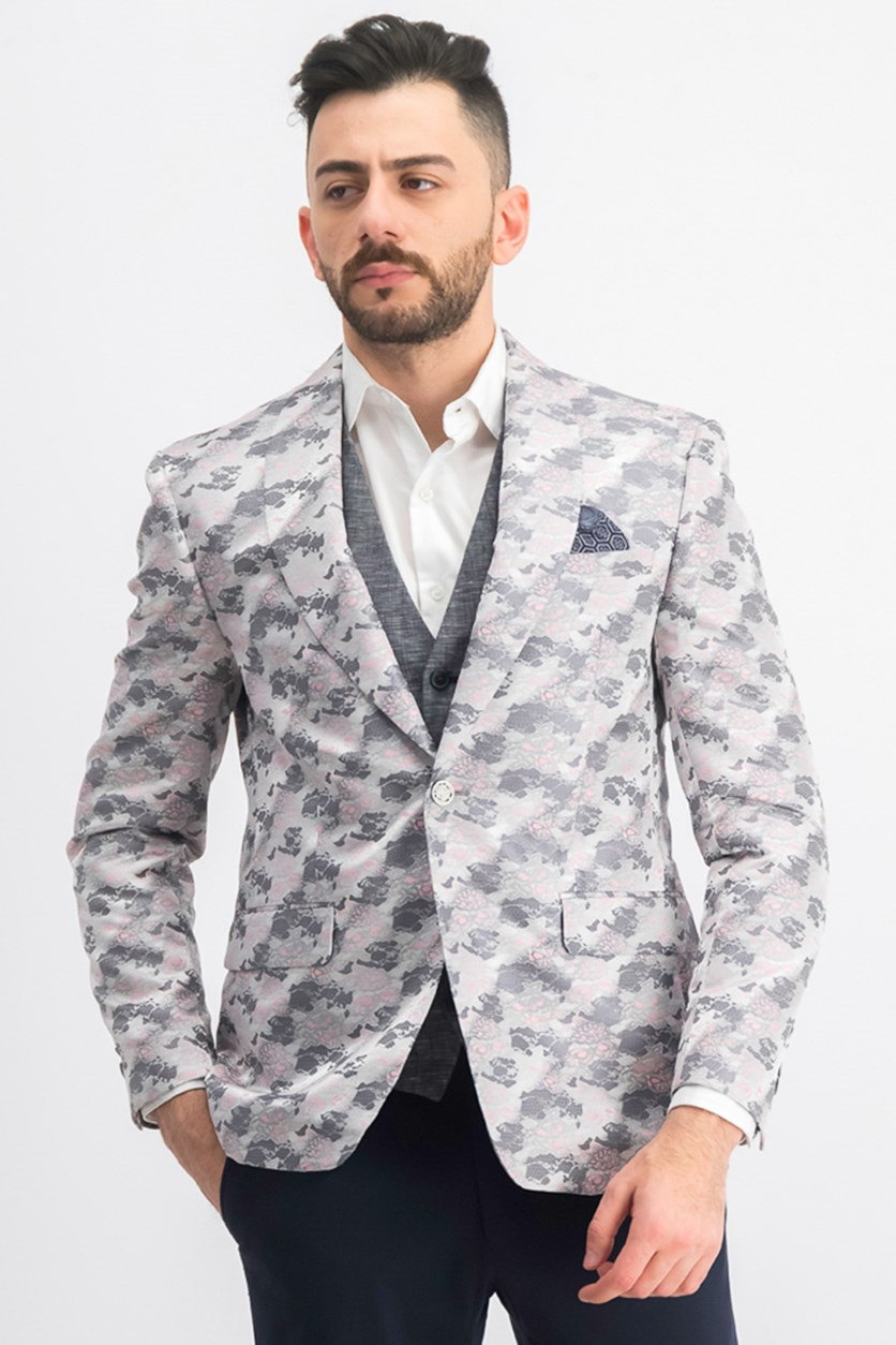 Men's Slim-Fit Jacquard Dinner Jacket Blazer, Silver/Pink