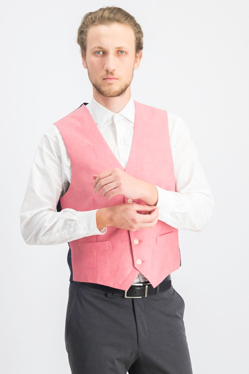 Men's Modern-Fit Chambray Vest, Red/Navy Blue