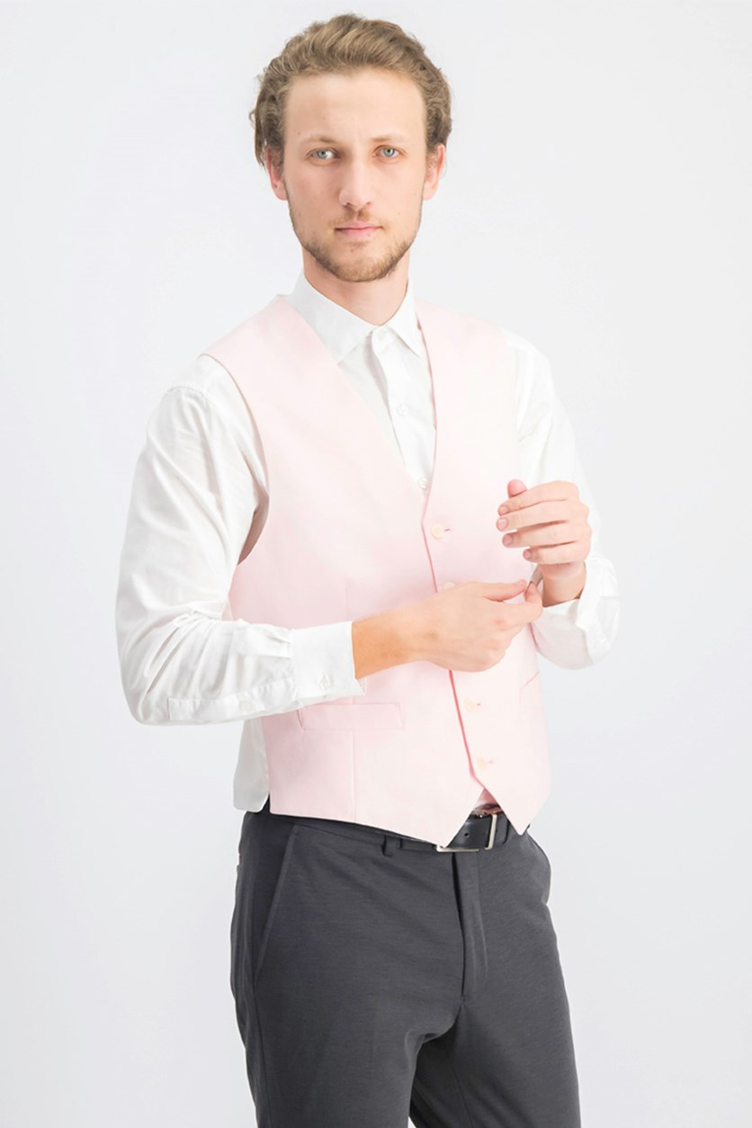 Men's Modern-Fit Chambray Vest, Pink/White