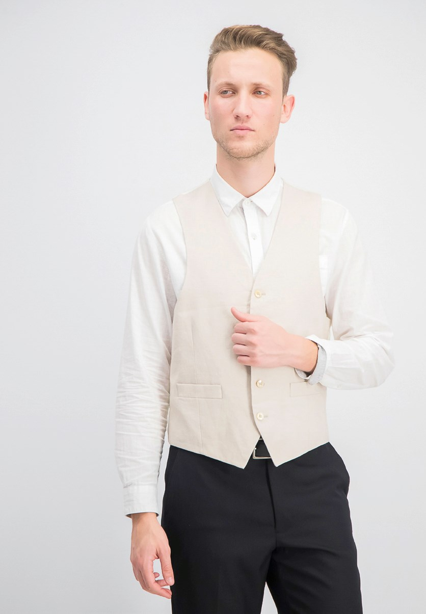Men's Linen Vest, Light Beige