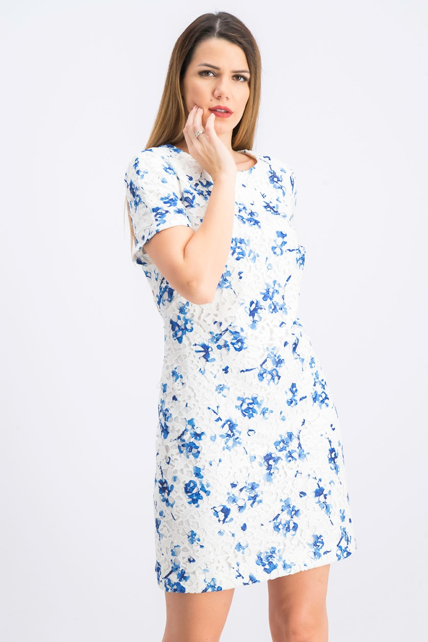 Petite Floral-Print Lace Dress, White/Blue