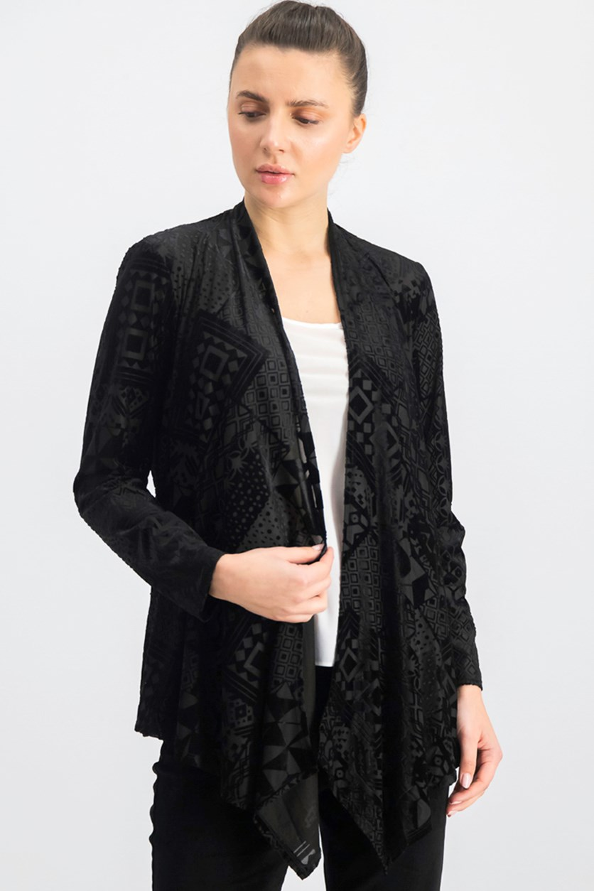 Women's Geo Velvet Burnout Cardigan, Black