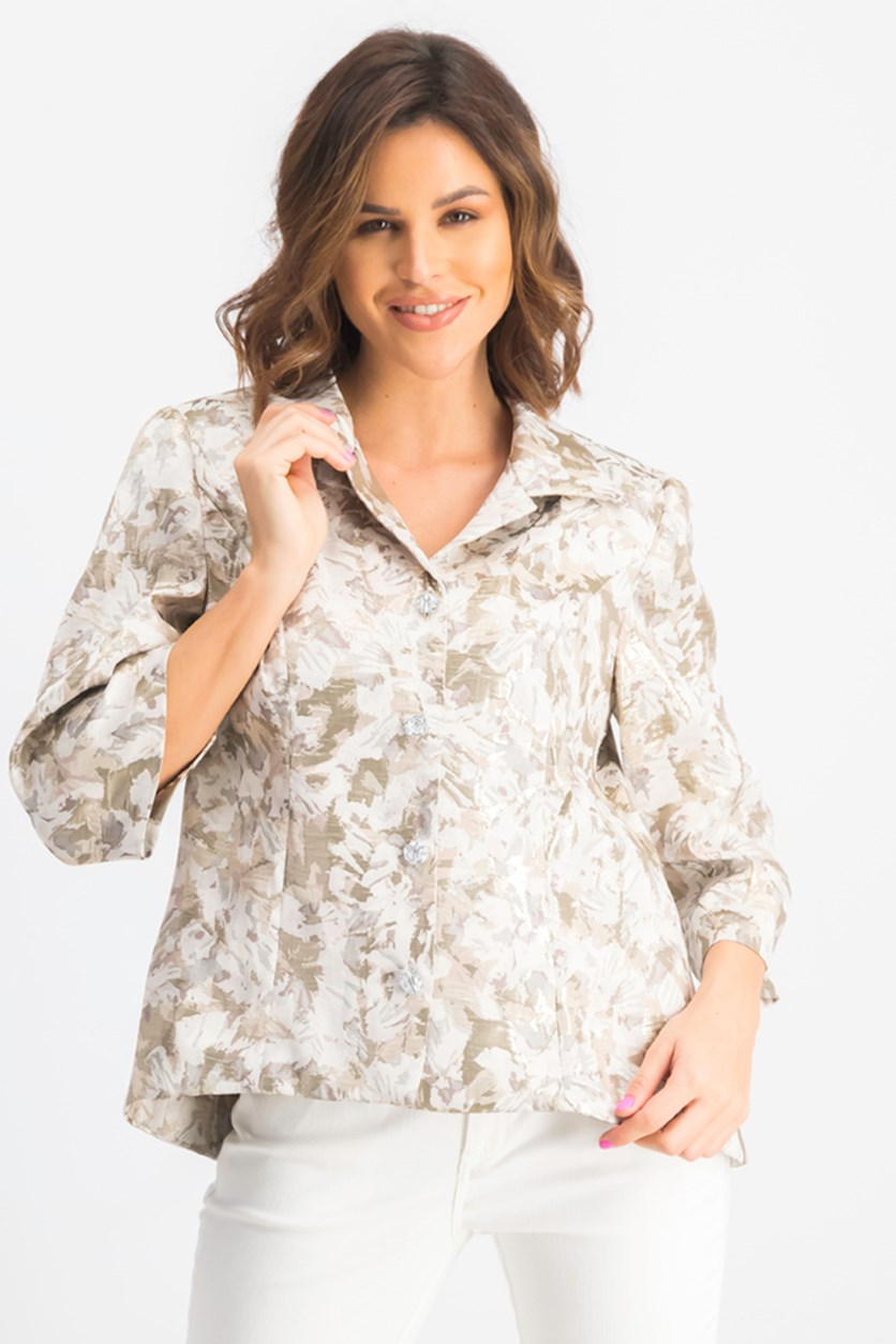 Women's 3/4 Sleeve Brocade Print Jacket, Taupe