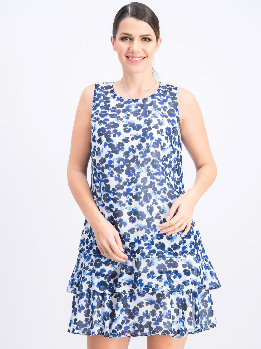 Women's Tiered-Ruffle Floral-Print Dress, Ivory/Navy