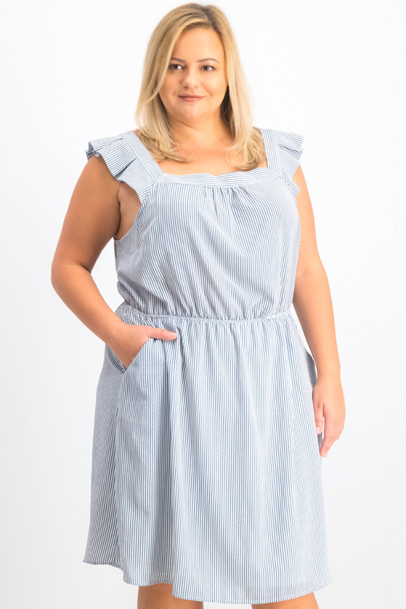 Trendy Plus Size Striped Blouson Dress, Navy/White