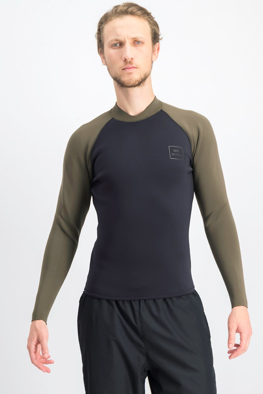 Men's Back Zip Wetsuit Jacket Rashguard, Black/Olive