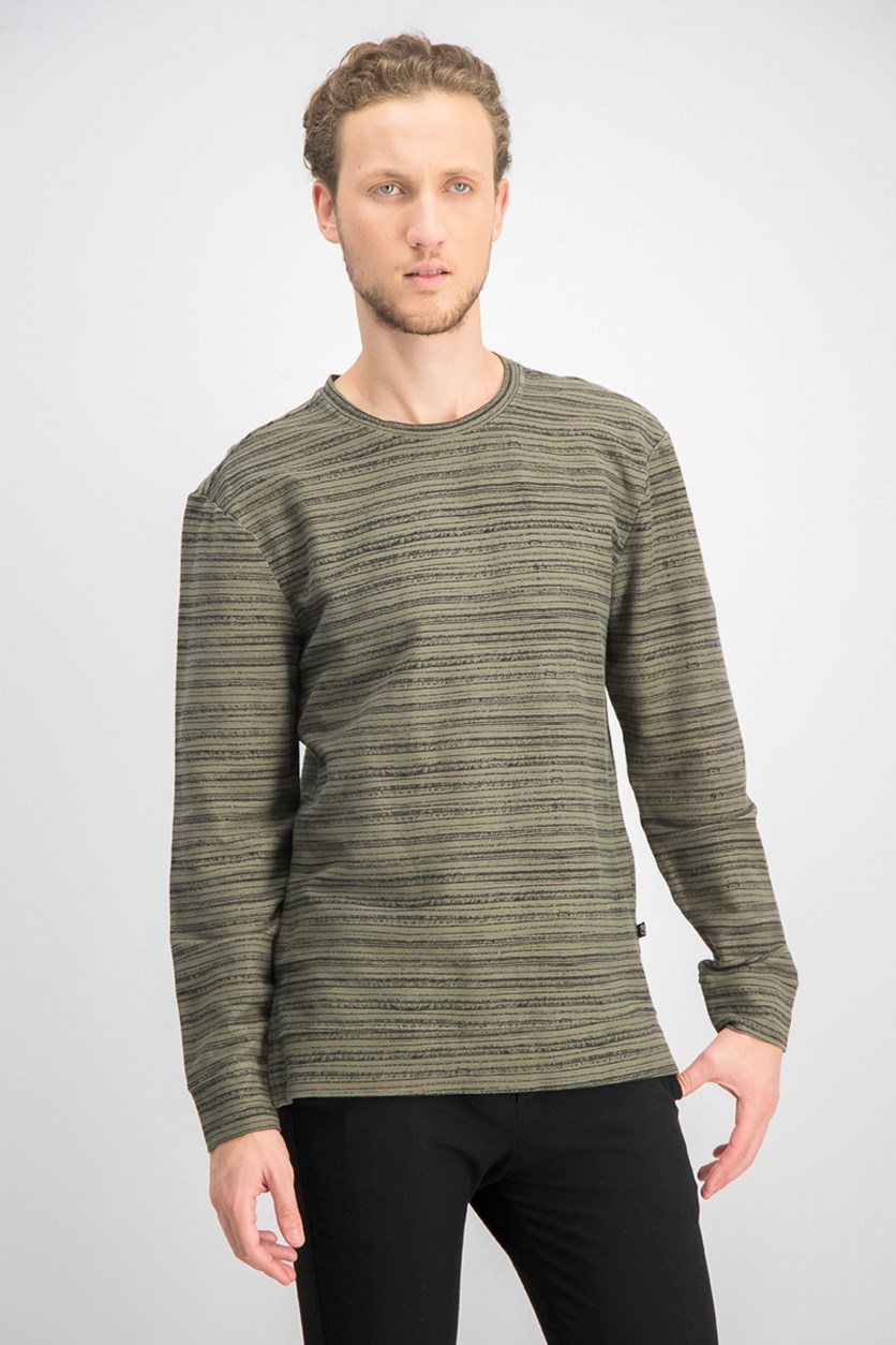Men's Crew Neck Stripe Knit Sweater, Green/Black