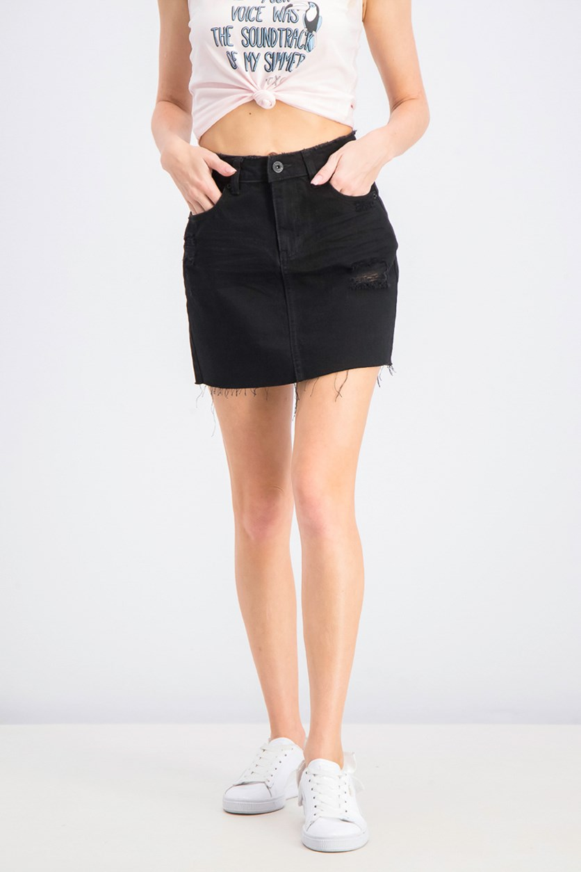 Juniors' Cotton Ripped Denim Mini Skirt, Black