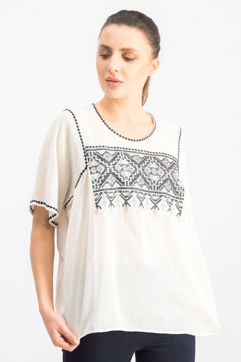 Women's Short Sleeve Embroidered Top, Canvas