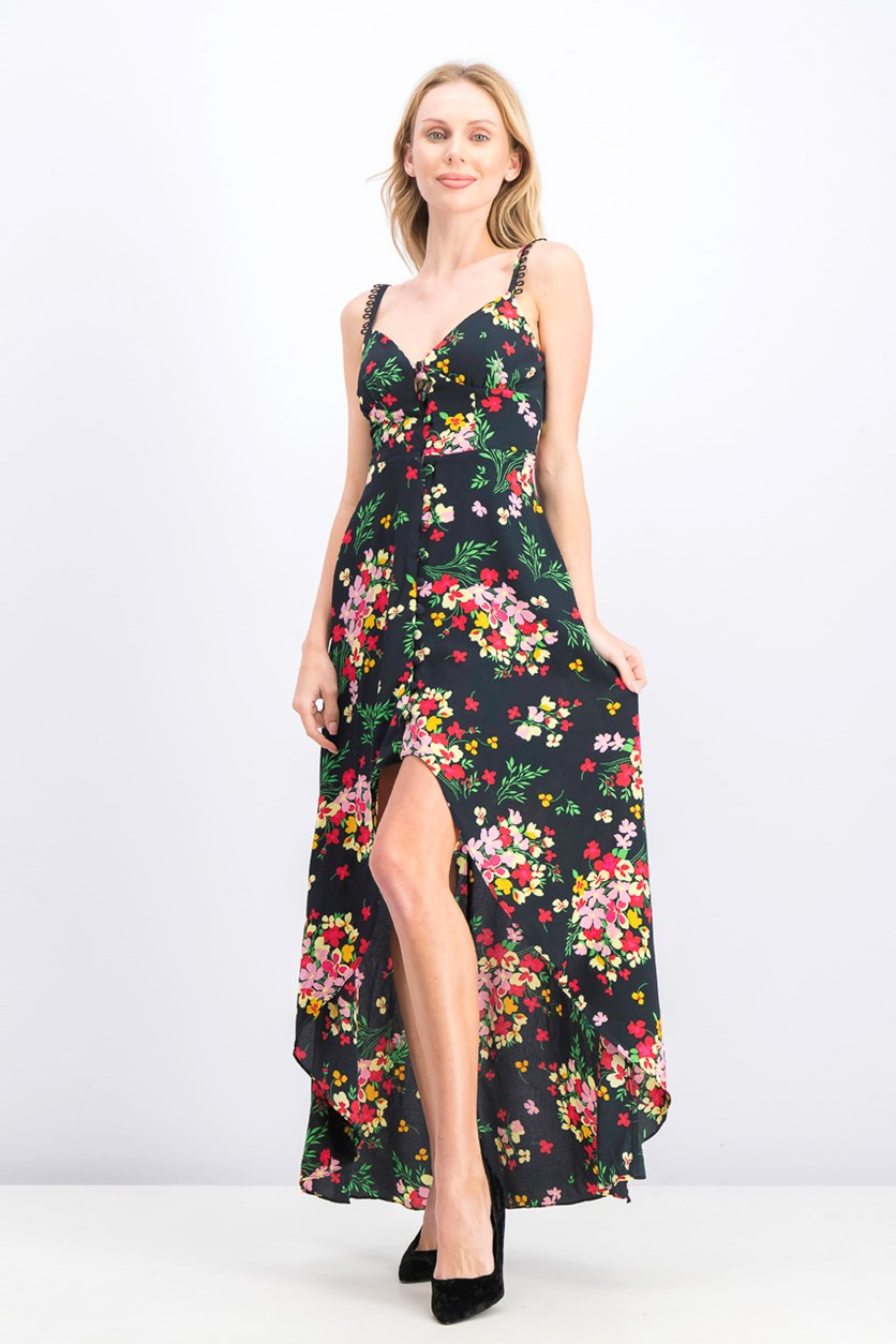 Junior's Printed Button-Front Maxi Dress, Black Combo