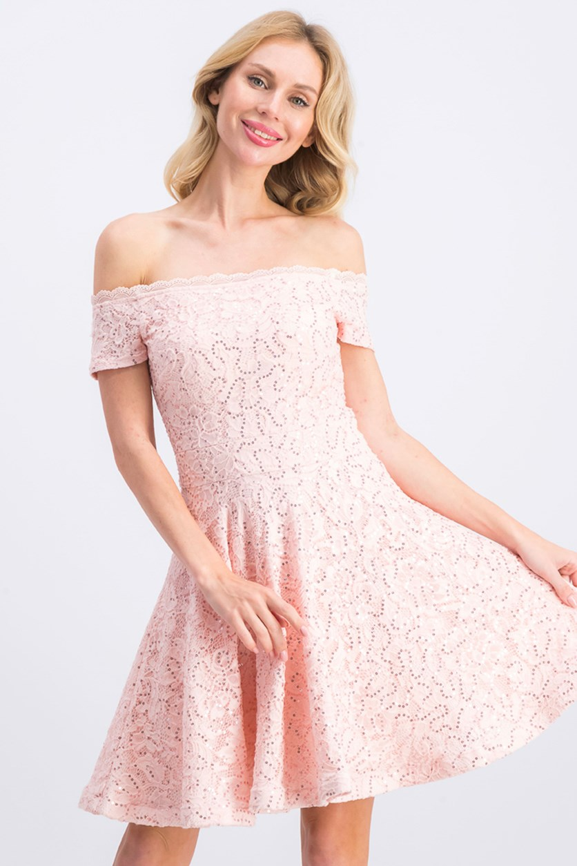 Women's Off-the-Shoulder Lace Dress, Blush