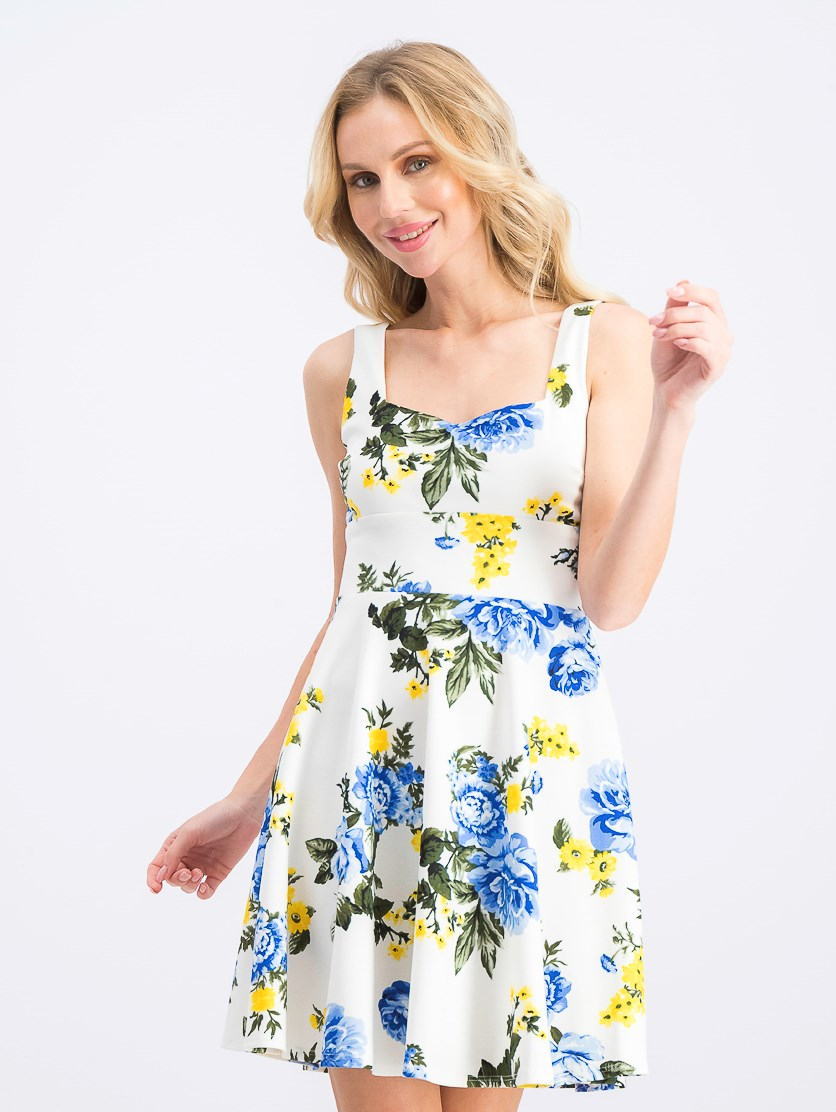 Women's Floral Square Neck Tie Back Dress, Ivory/Blue/Yellow