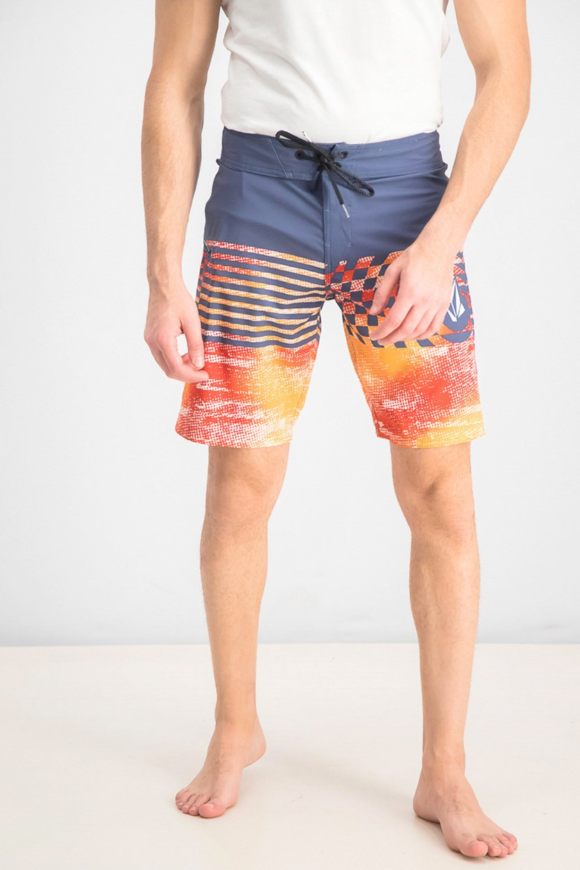 Men's Block Mod 21 Board Shorts, Indigo/Orange