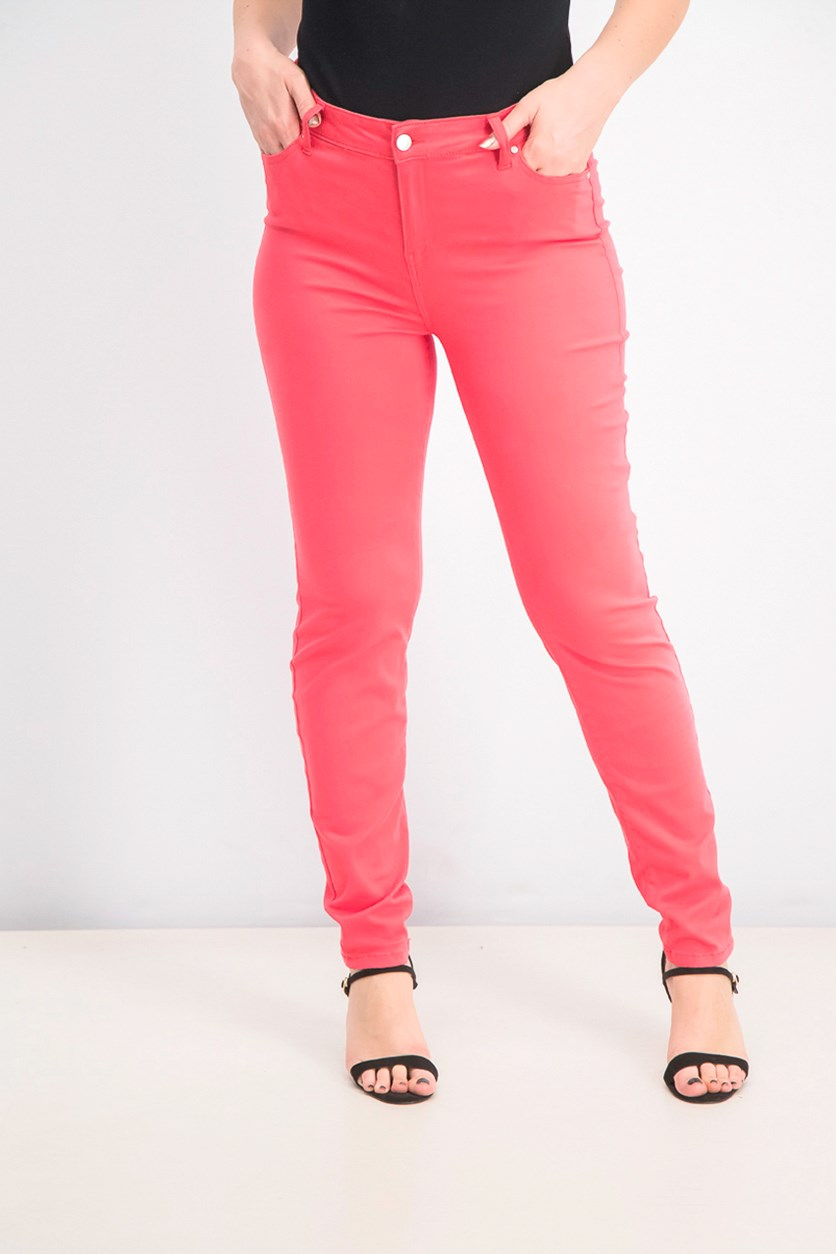 Juniors' Jayden Colored Wash Skinny Jeans, Paradise Pink