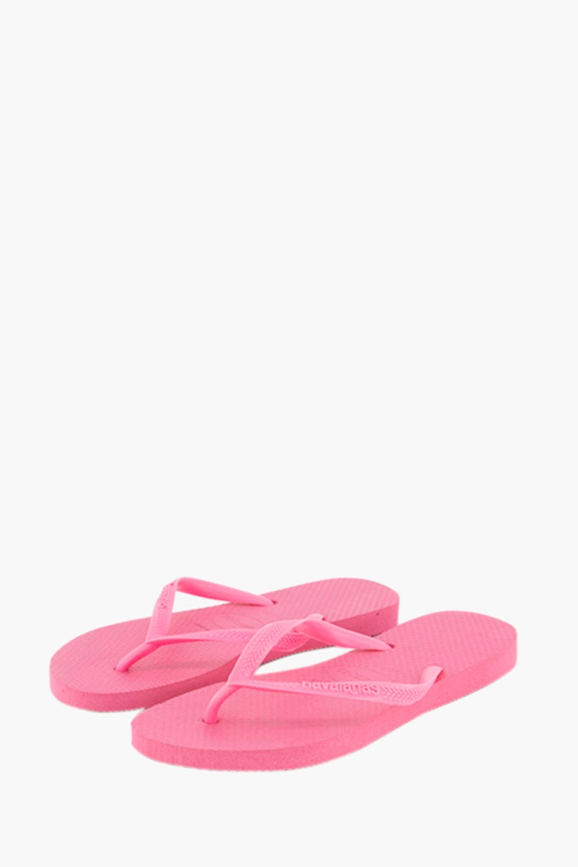 Girls' Slim Flip-Flops, Shocking Pink