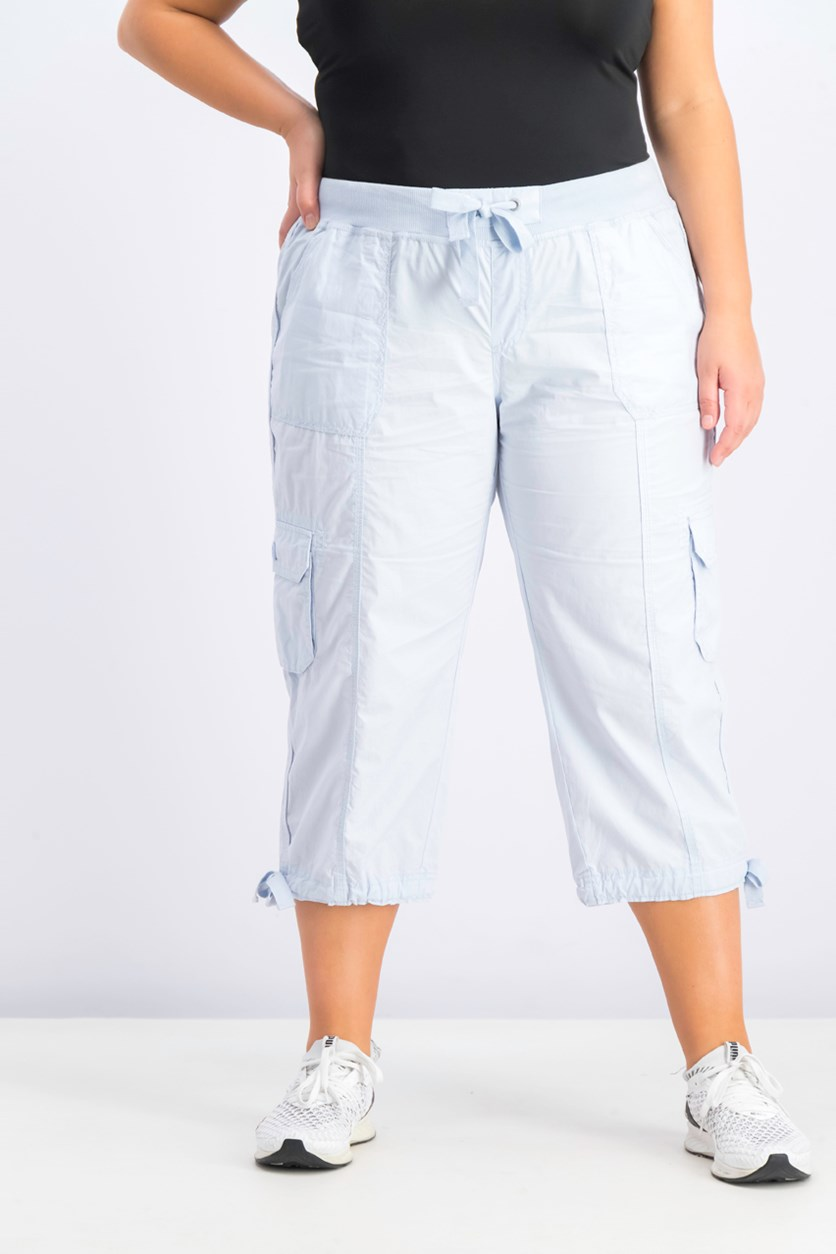 Plus Size Cropped Cargo Pants, Waterfall