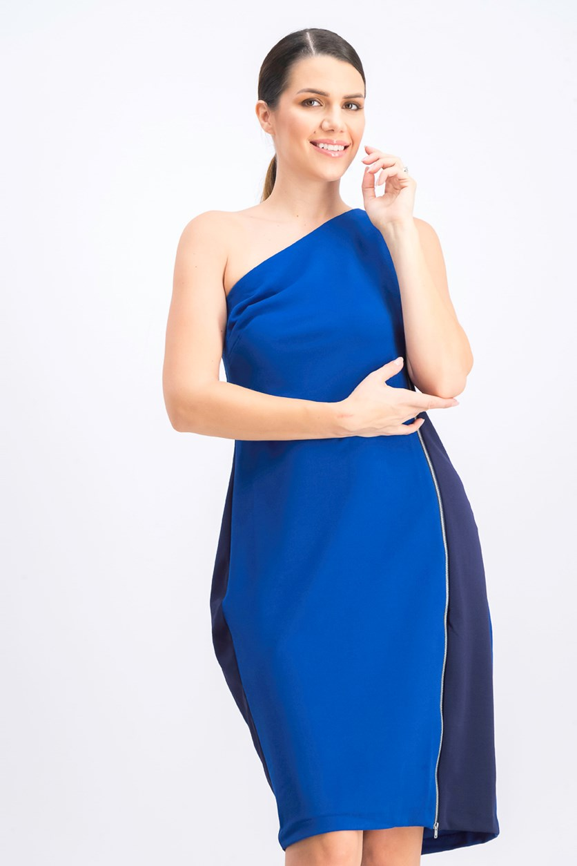 Women's One-Shoulder Tonal Sheath Dress, Blue/Navy