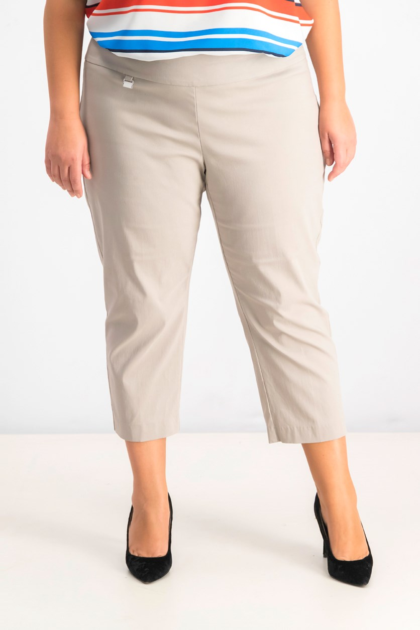 Women's Plus Size Pull-On Capri Pants, Summer Straw