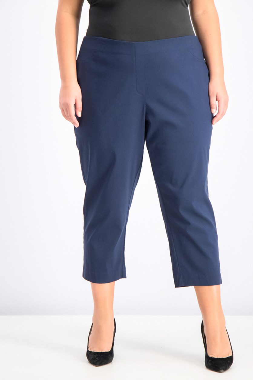 Women's Plus Size Capri Pants, Industrial Blue