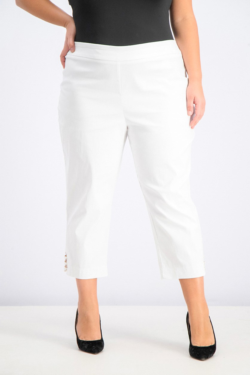 Women's  Pull On Lattice Inset Capri Pants, White
