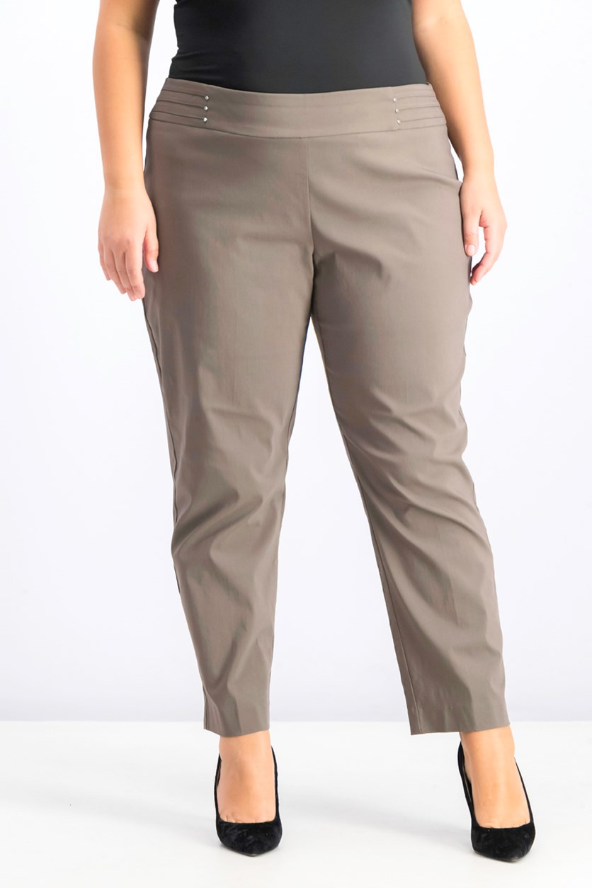 Plus Size Tummy Control Slim-Leg Pants, Brown Clay
