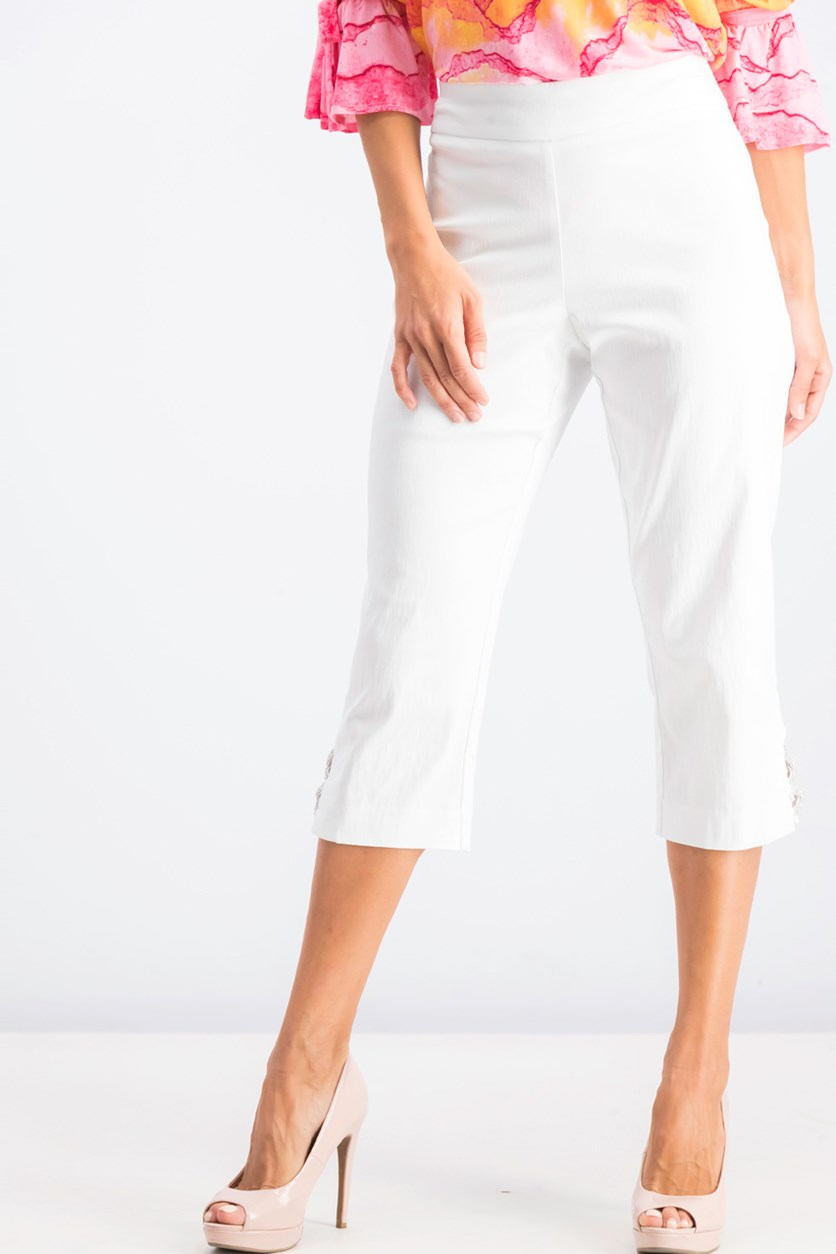 Petite Embellished Lattice Capri Pants, Bright White