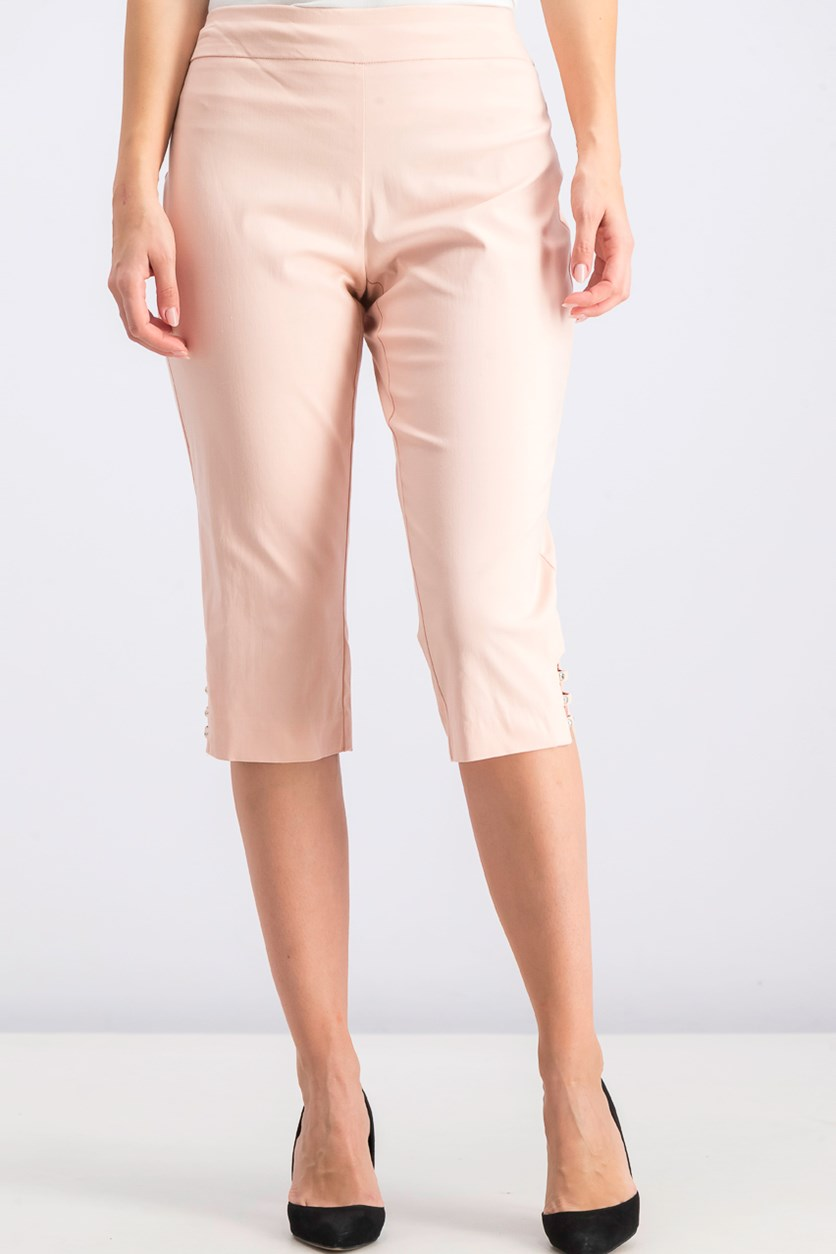 Women's Petite Lattice-Hem Capri Pants, Casabella