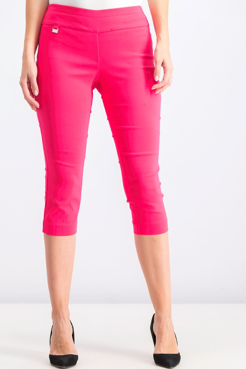 Women's Petite Pull On Capri Pants, Flamenco Pink