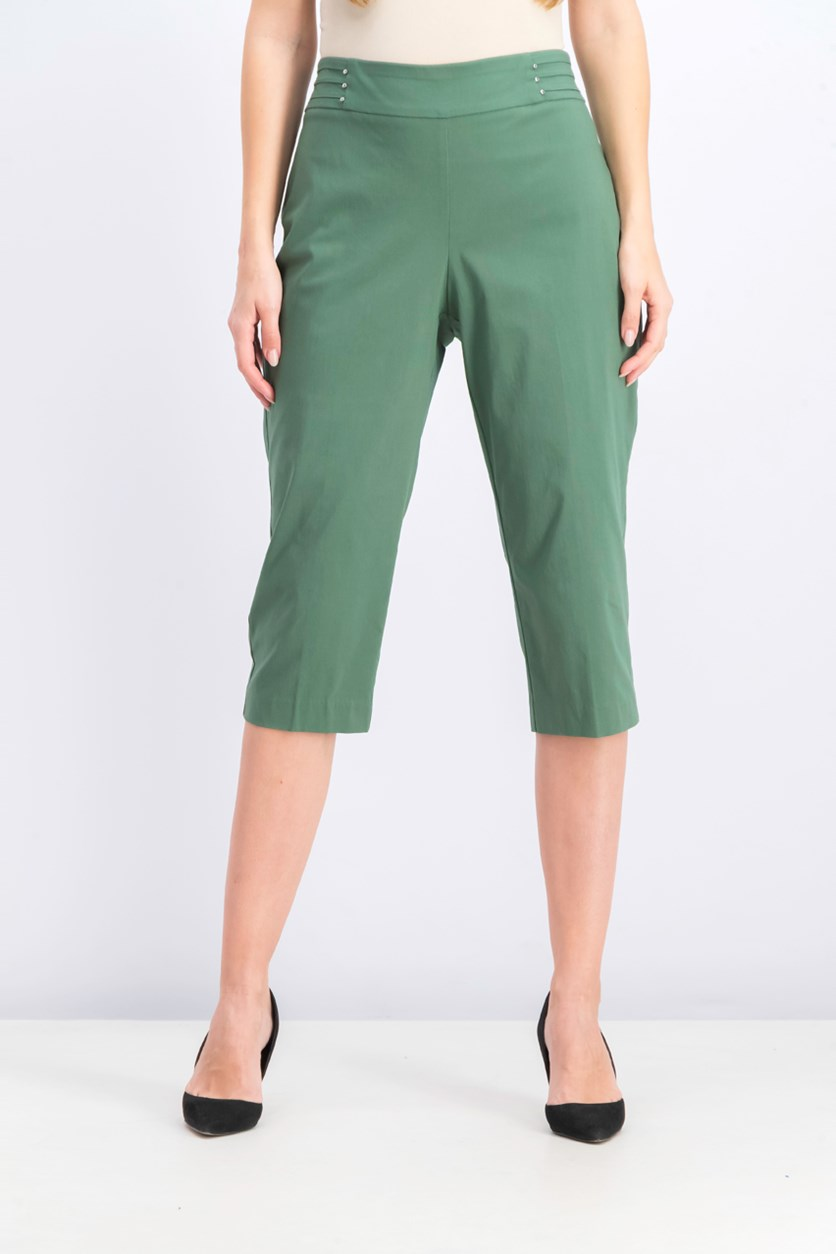 Women's Petite Rivet-Detail Tummy Control Capri Pants, Blooming Cactus