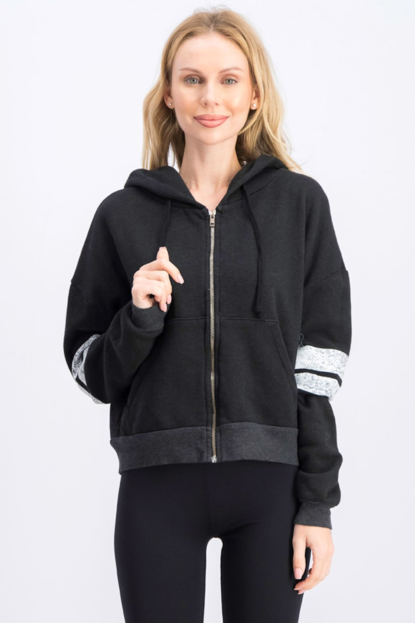 Women's Textured Hoodie Jacket, Black