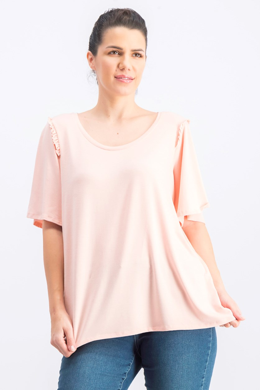 Women's Bell Sleeve Tops, Peach