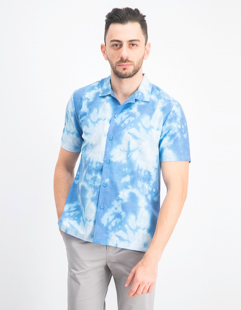 Men's Daily Woven Graphic Shirt, Blue