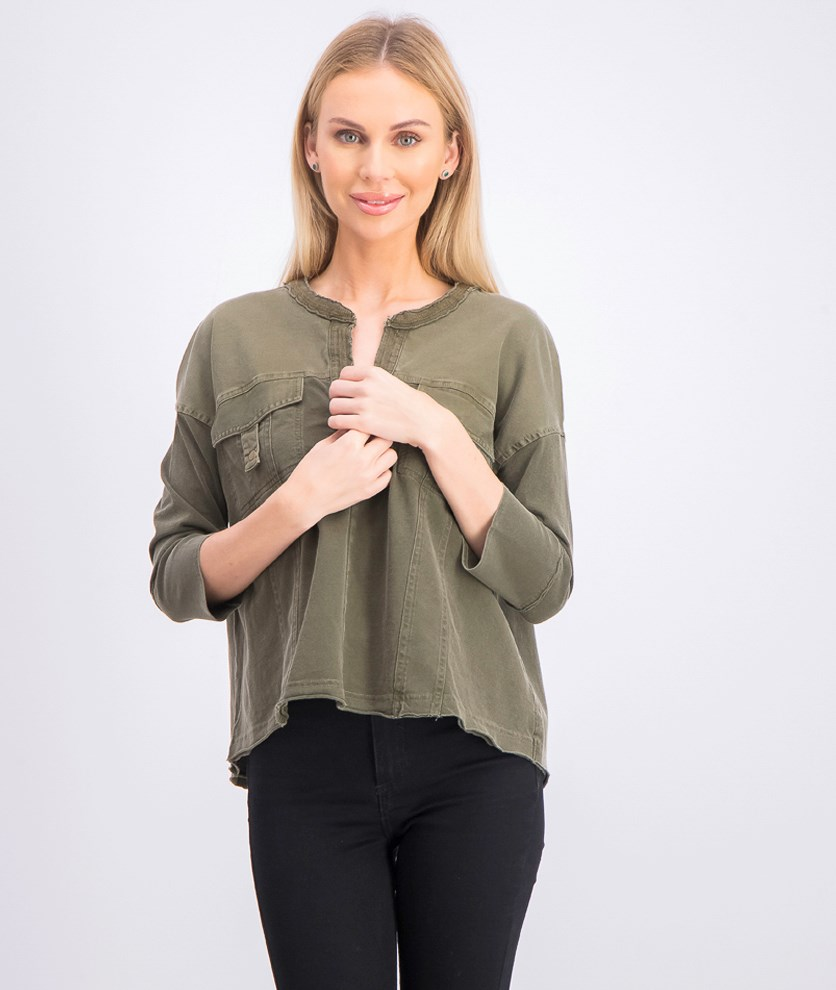 Women's Long Sleeve Tops, Olive
