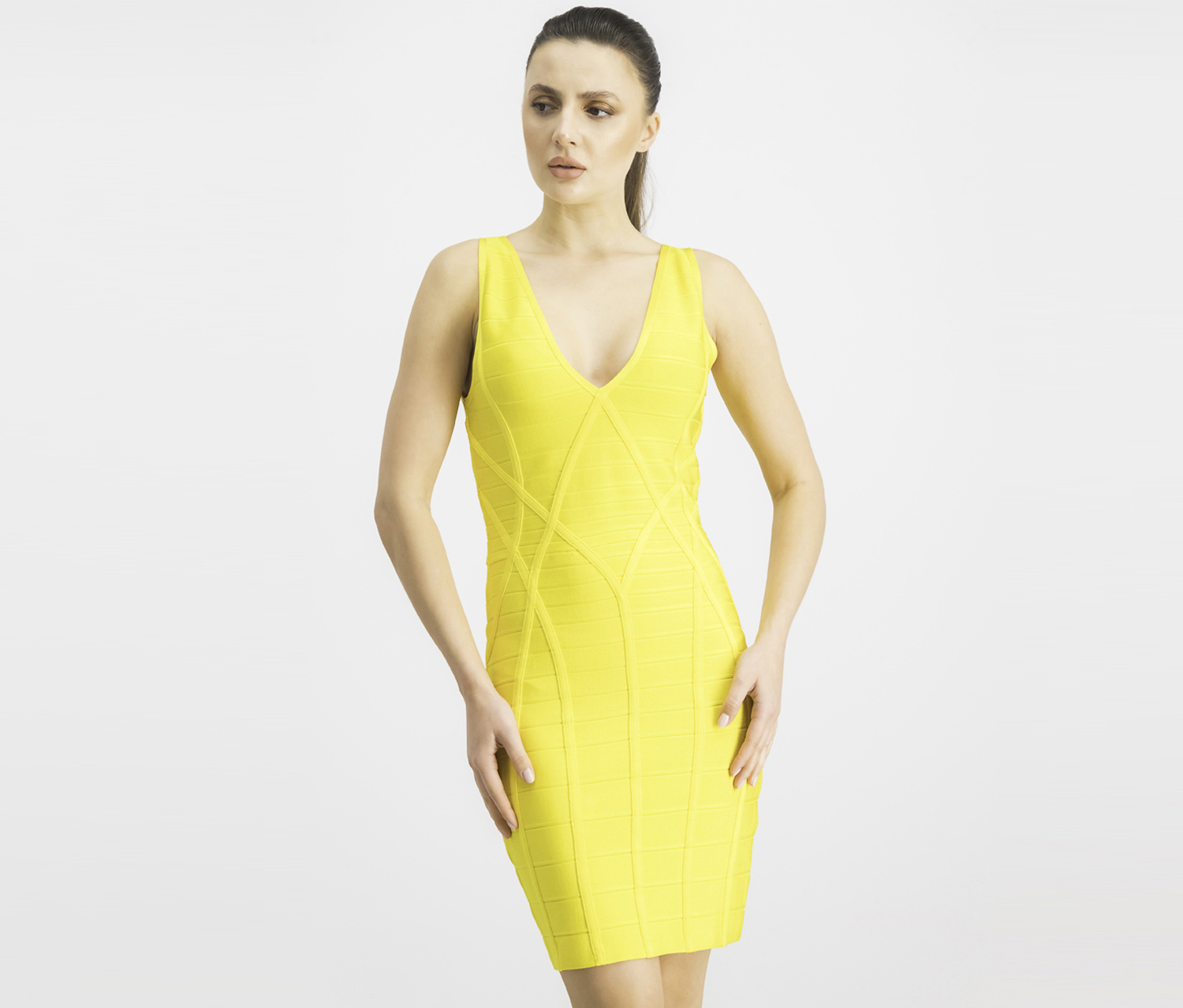 Women's V-Neck Bodycon Dress, Lemon