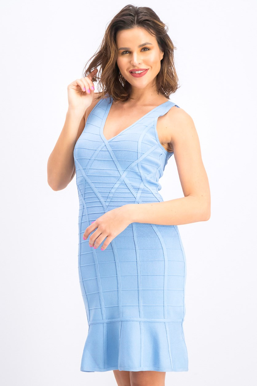 Women's Flounce-Hem Bodycon Dress, Sky Blue