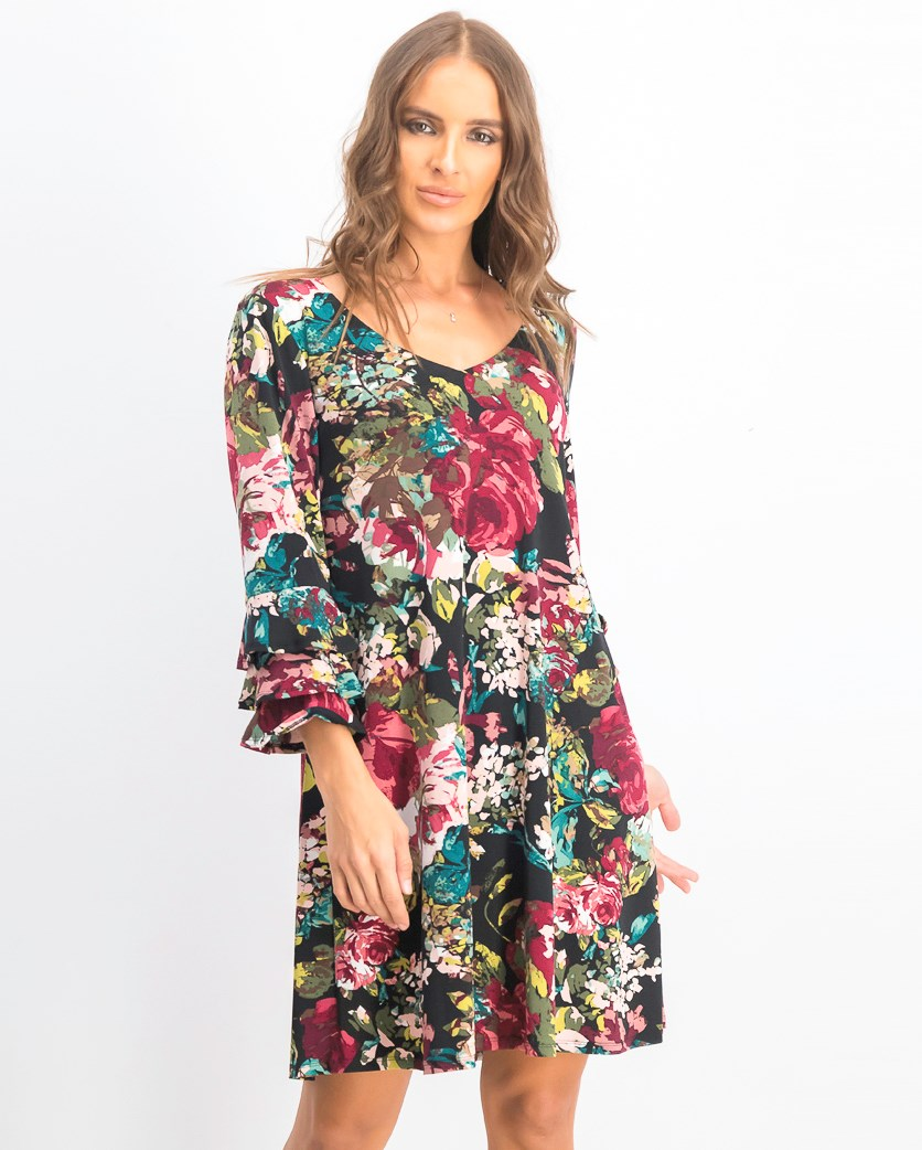 Women's  Floral Printed Tiered-Bell-Sleeve Dress, Purple Combo