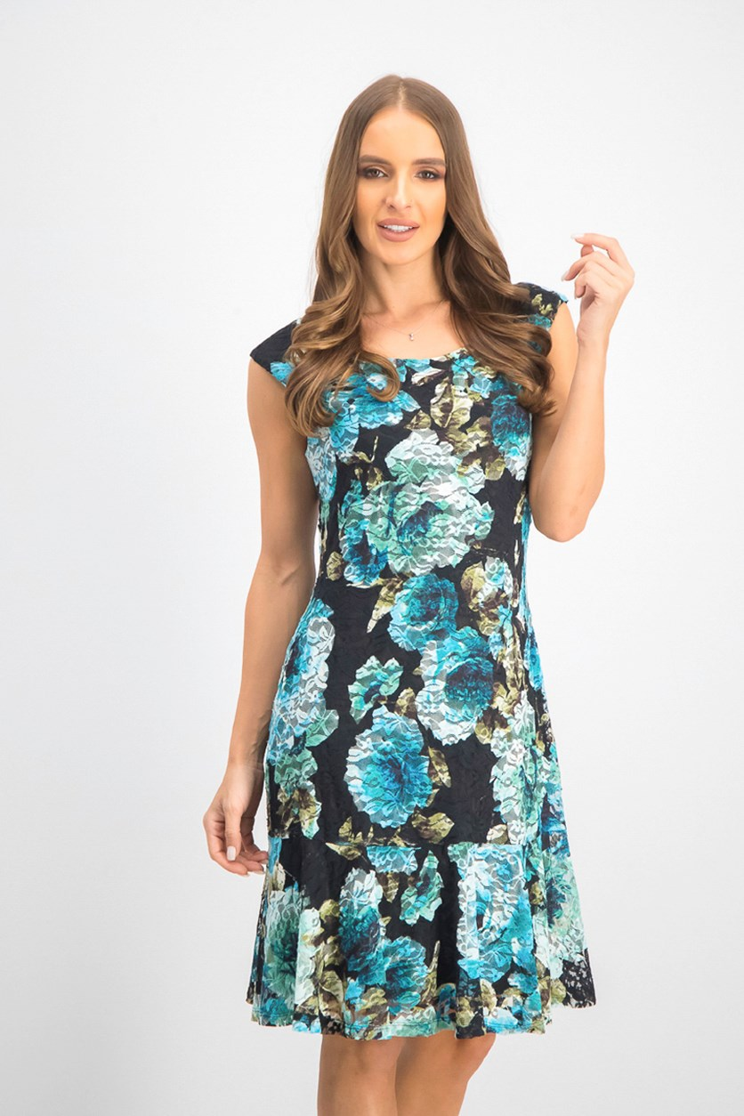 Women's Floral-Print Lace Shift Dress, Turquoise Combo