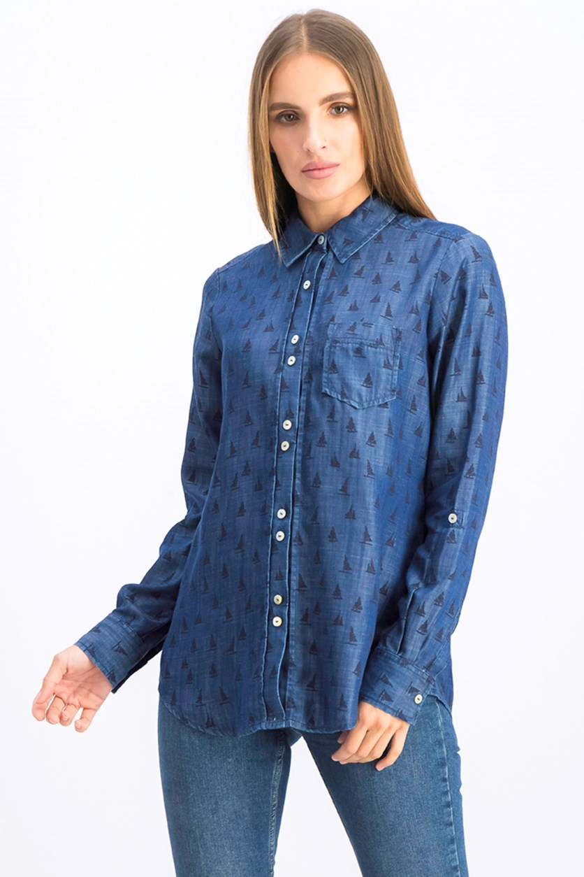 Women's Zoey Sailboat Print Chambray Shirt, Blue