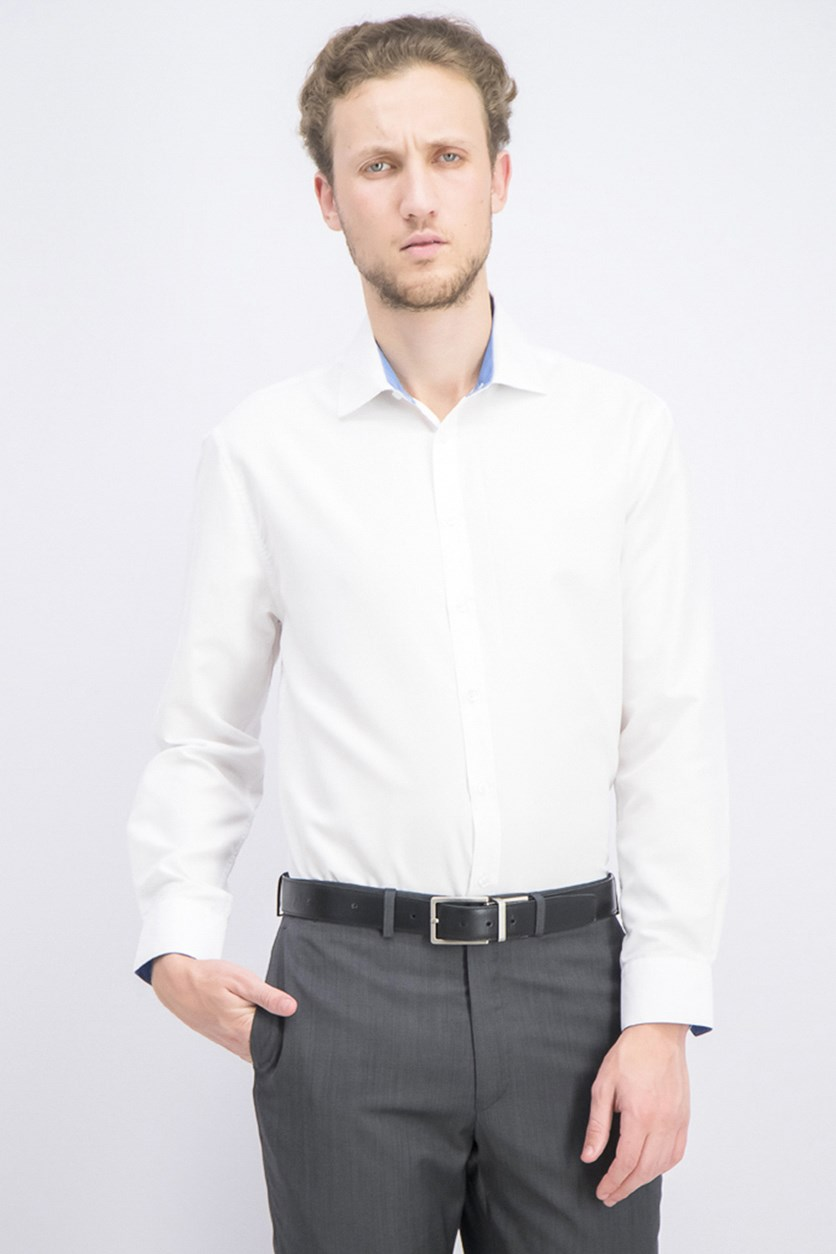 Men's Slim-Fit Solid Dress Shirt, White
